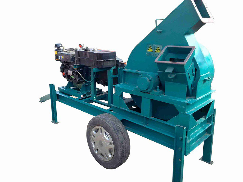 diesel engine driven wood chipper with wheels
